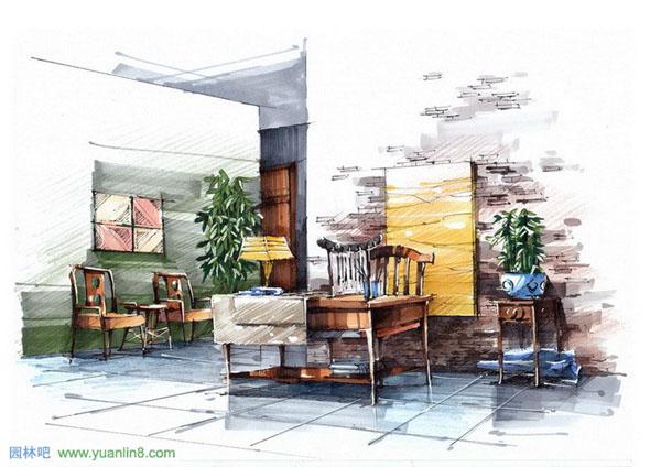 建筑; 手绘效果图[室内,建筑,景观等4000张];; 马克笔手绘建筑风景