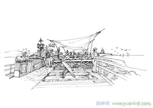 钢笔园林景观设计方案效果图-手绘表现_园林吧
