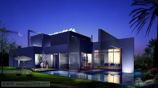 私家别墅花园设计图_非常经典的别墅外观设计效果图-建筑设计_园林吧