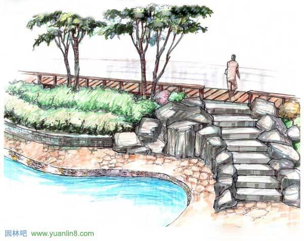 公园景观手绘-停车场,廊桥,公园出入口手绘-手绘作品_园林吧