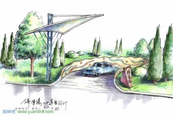 园林吧 规划设计 > 公园景观手绘-停车场