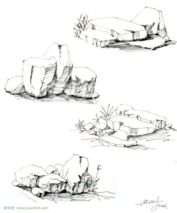 景观手绘线稿 考研景观手绘 公园景观手绘平面图