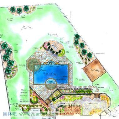 园林水池手绘平面