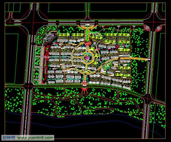 庭院景观设计立面图图片大全下载; 小区整体规划cad设计方案 居住区总