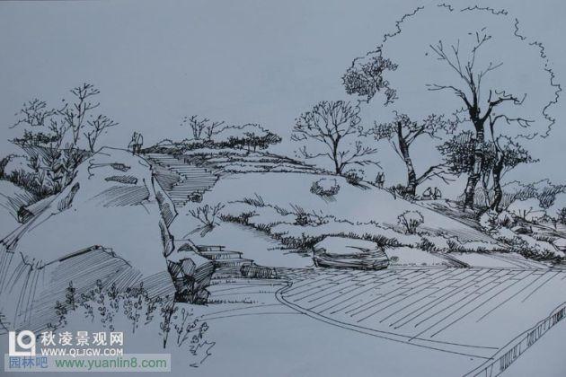 ps后期园林景观水彩表现; 景观手绘水彩;