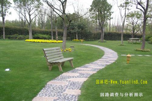圆形花圃的景点旁边有一条长方形小道,用24块边长为1米的防滑方砖铺图片