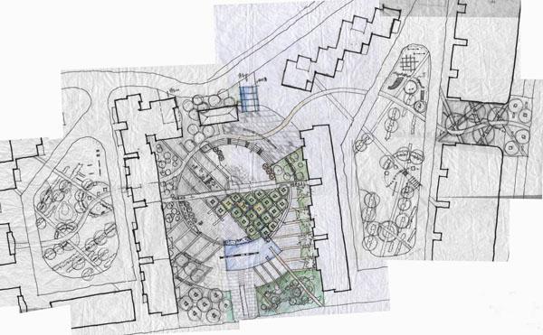 园林景观设计,手绘景观平面图组合图片