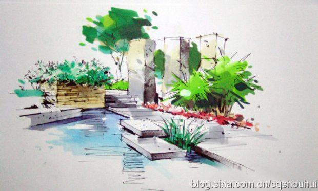 园林水景马克笔手绘