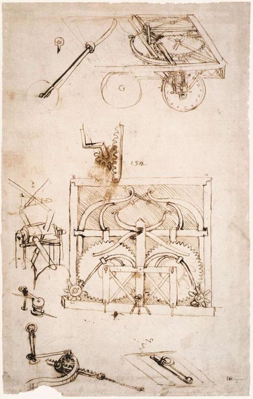 达芬奇绘制的机械设计草图图片