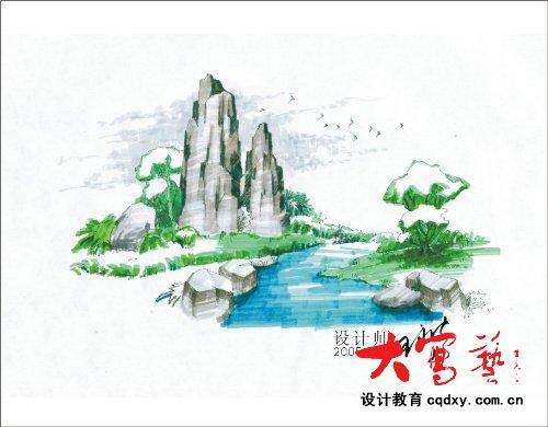 马克笔景观手绘步骤图示-手绘表现_园林吧
