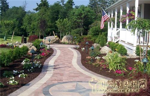 二>; 别墅庭院景观集锦之小径篇;; 庭院景观设计中庭院人行道设计图片