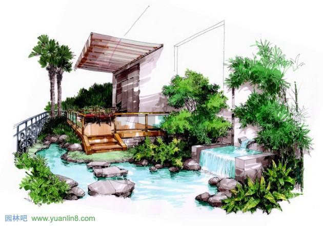 庭院小景手绘