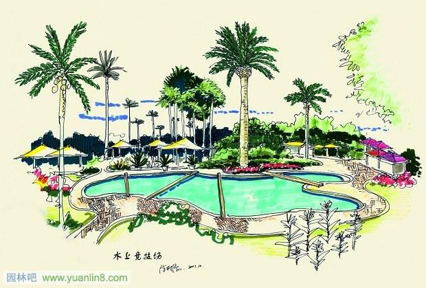 陈树添手绘景观作品欣赏-手绘作品_园林吧