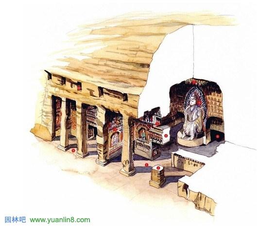 手绘古建筑欣赏,古建筑图片