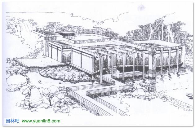 园林小景钢笔手绘