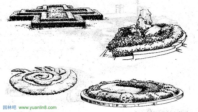 方形花坛手绘设计图;