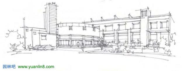 建筑块手绘线稿