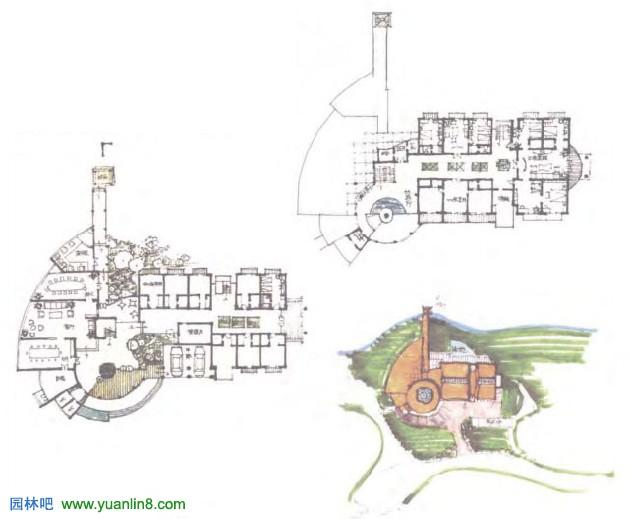 建筑快题案例3:会议中心设计:各层平面以房间功能表达清楚为基准,总图表现建筑设计与环境关系,可以色彩浓重些,透视图的形象表达与平面要基本对应,柱网数量、入口位置与大小、体块的交接位置等都要与平面对位。透视图表达可以根据自己的表现特长画得夸张些。
