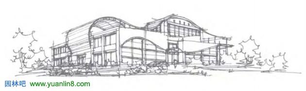 曲面建筑透视图手绘