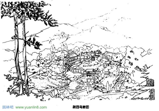 竹林景观手绘效果图